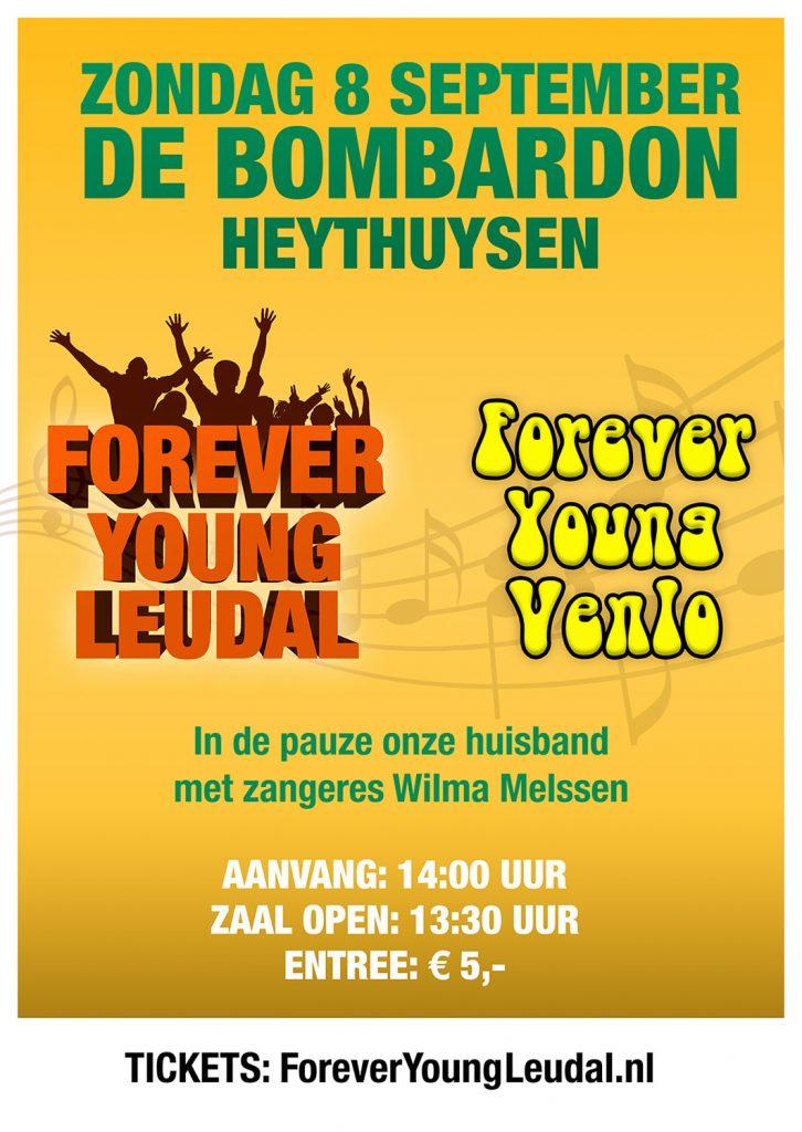 Poster optreden Forever Young Leudal en Forever Young Venlo, zondag 8 september 2019, De Bombardon Heythuysen