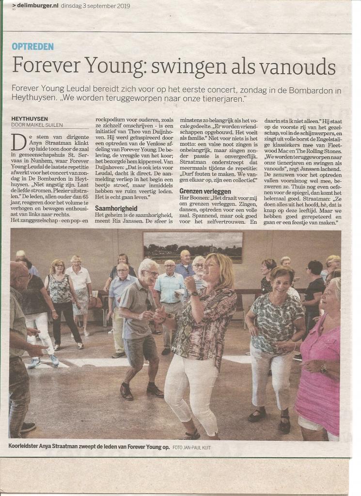 Foto van krantenartikel in De Limburger over een aanstaand optreden van Forever Young Leudal in de Bombardon
